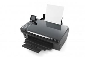 Schwarzer Drucker auf weißem Grund