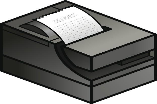 Illustration eines Epson T88V Bondruckers auf weißem Grund