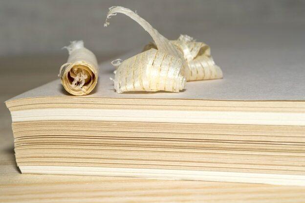 Holzspäne auf Papierstapel